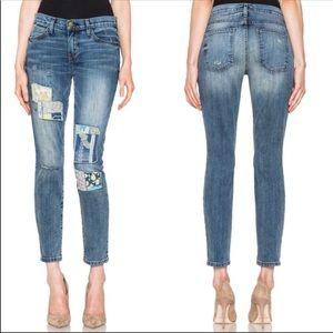 Current Elliot patchwork hippie jeans